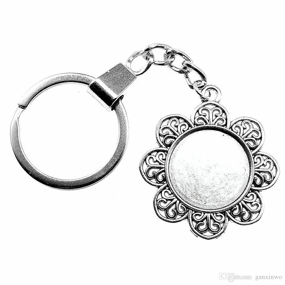 6 조각 키 체인 여성 열쇠 고리 자동차 키 체인 키 꽃 싱글 사이드 내부 크기 20mm 라운드 카보 숑 카메오 자료 트레이 베젤 빈