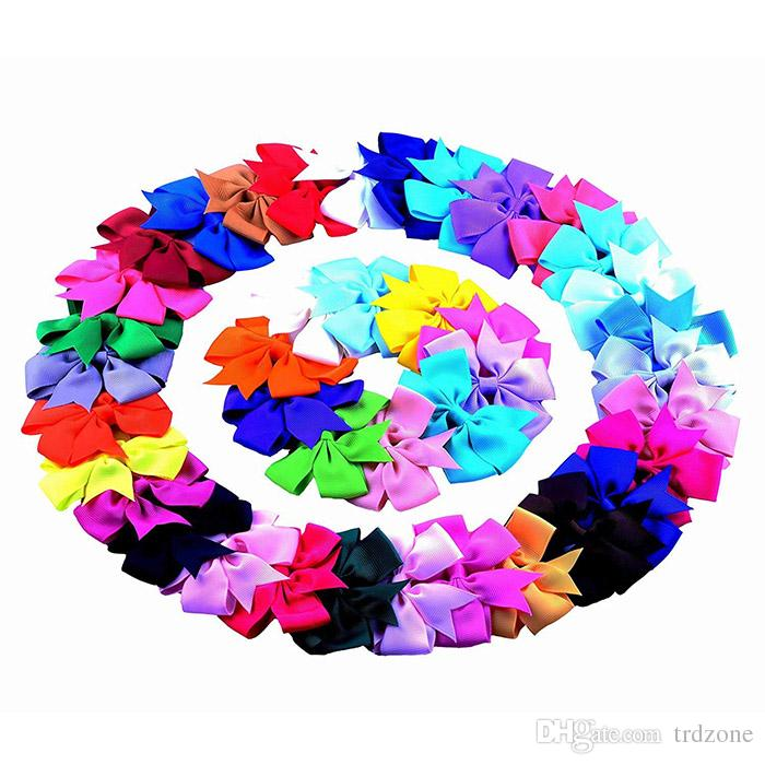 Grosgrain Ribbon Pinwheel Boutique Hair Bows Clips For Baby Girls Teens Toddlers Kids Children