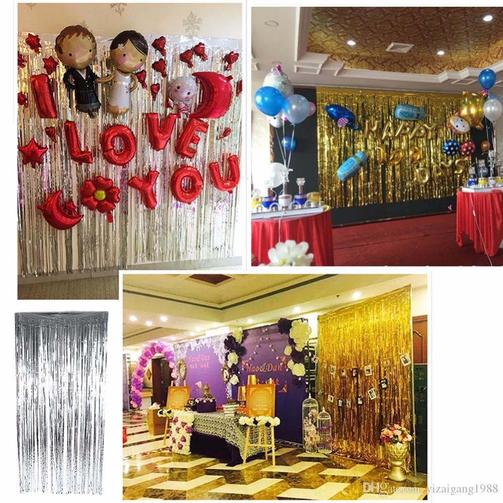 FENGRISE Gold Foil Tinsel Curtain 1X3 Meters Foil Fringe Backdrop Wedding Photography Birthday Party Decoration Supplies