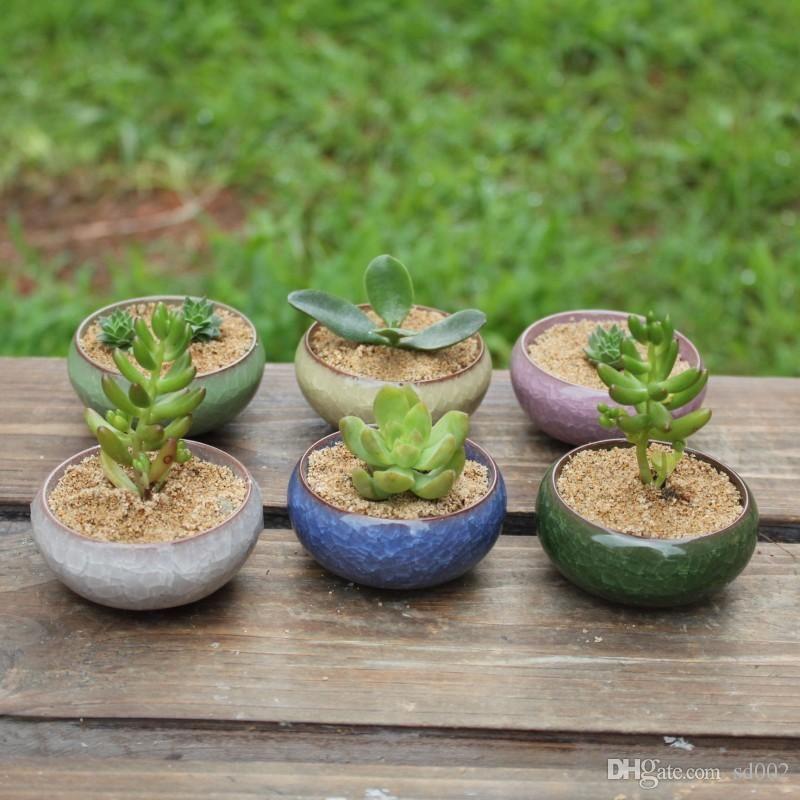 Ice Cracked Ceramics Flower Pots With Mini Hole Planters For Home Desktop Succulent Plants Bonsai Plant Pot For Garden 1 38yx ZZ