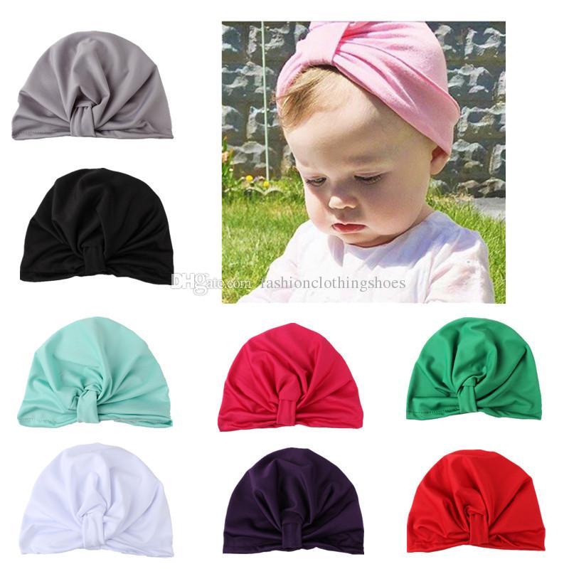 جديد بسط القطن عقدة الطفل عقال هيرباند العمامة قبعة قبعة كاب أغطية الرأس حك للبنات غطاء الرأس اكسسوارات للشعر