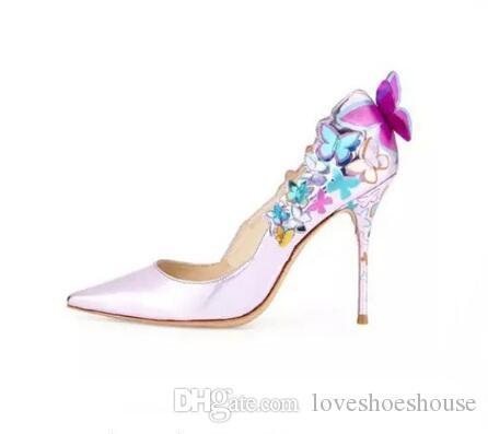 Impresión de charol tacones de aguja de las mujeres bombas de dedo del pie puntiagudo nupcial boda zapatos apliques tacones altos zapatos de mujer