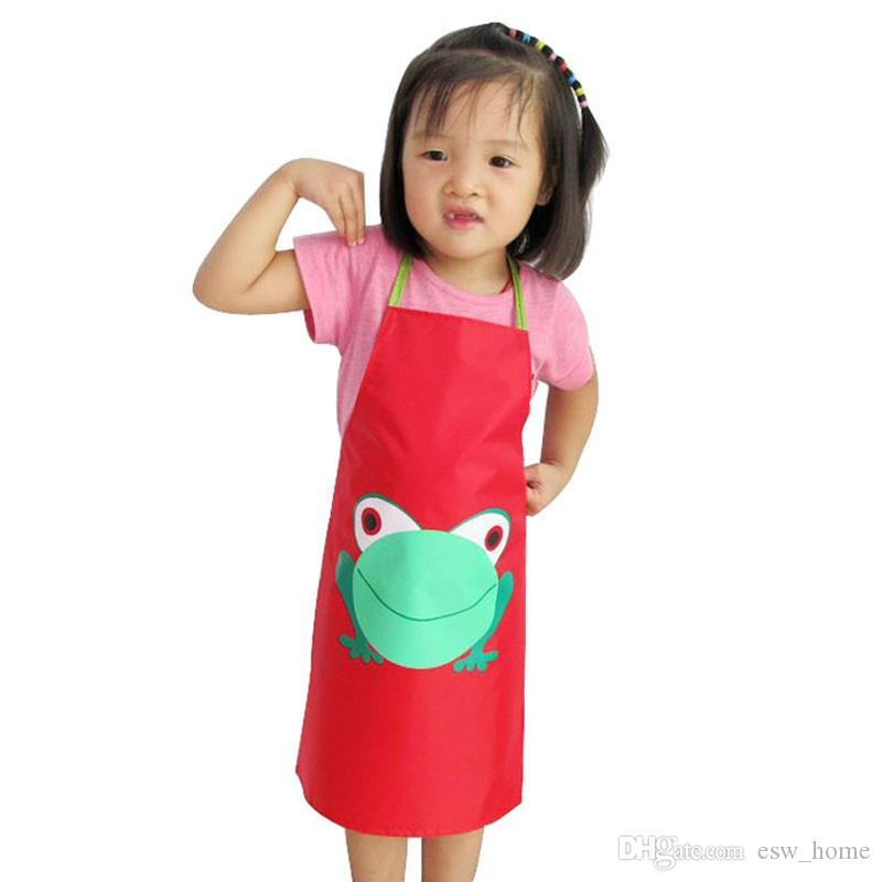 Hot Cartoon Frog Pattern Kids Children Waterproof Painting Eating Apron Outwear