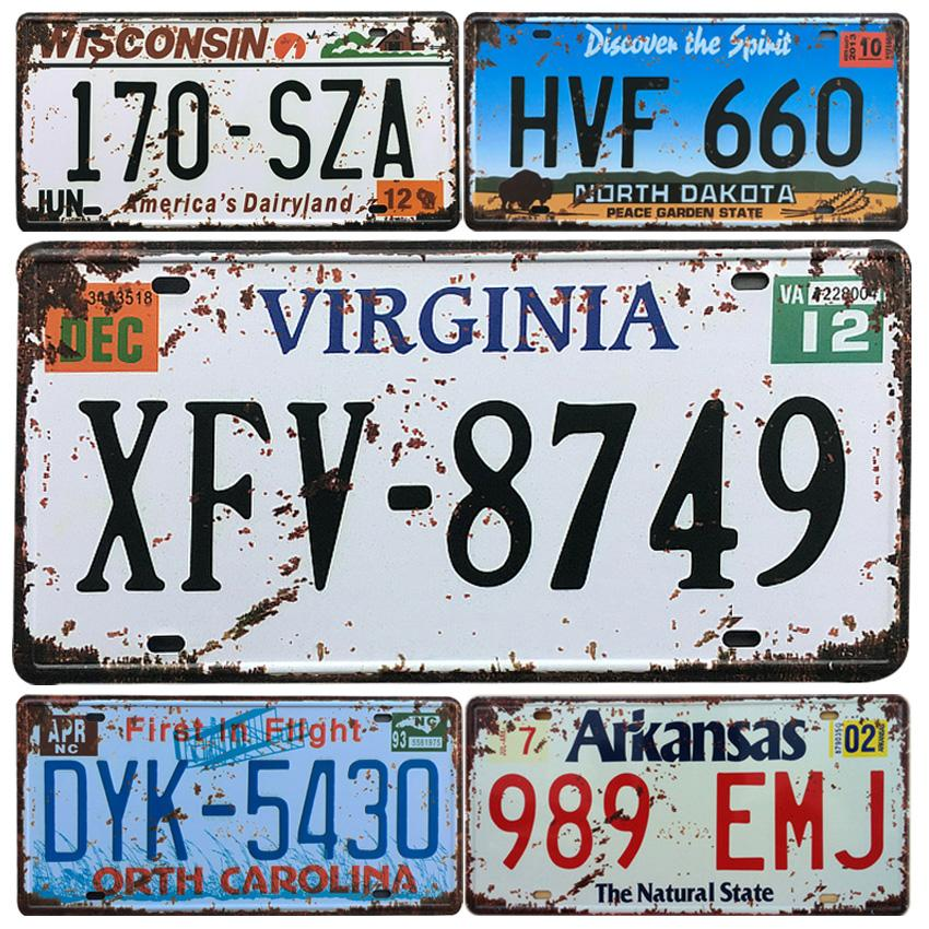 2017 États-Unis Virginie Car License Plate Métal Vintage Home Decor Tin Bar Garage Inscription décorative Pancarte de Métal Peinture Rétro plaque
