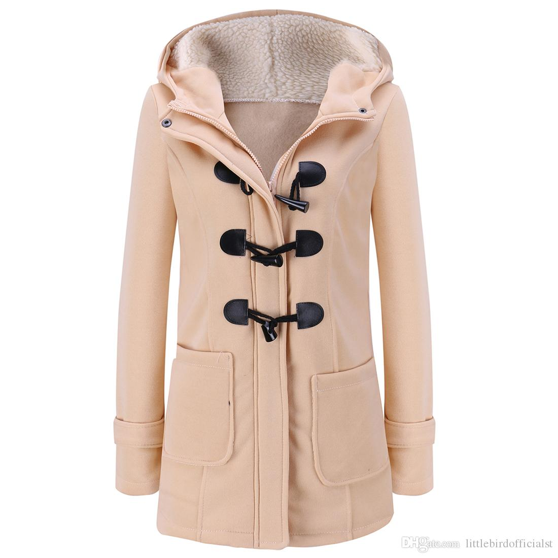 Kadın Bahar Sonbahar Trençkot Uzun Palto Kadın Kapüşonlu Ceket Fermuar Korna Düğme Dış Giyim