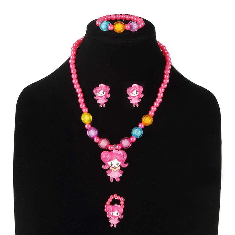 Neue Kinder Cartoon Halskette Vier Stück Set Halskette Armband Schmuck Mädchen Prinzessin Set