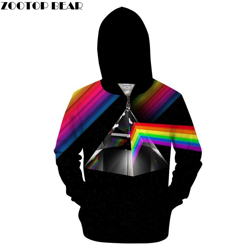 Felpa con cappuccio stampata 3D Rainbow Line Line Uomo 2018 Felpa con zip con cerniera Pullover Abbigliamento da uomo 6XL Tuta Drop Ship ZOOTOPBEAR