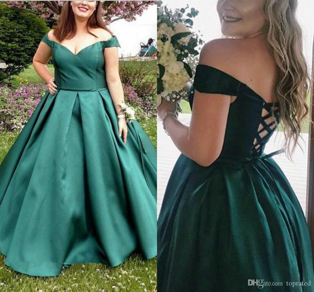 Dark Green Plus Size Prom Dresses Off the Shoulder Simple Satin A Line Floor Length Draped Lace up Back Eelgant Graduation Party Dress