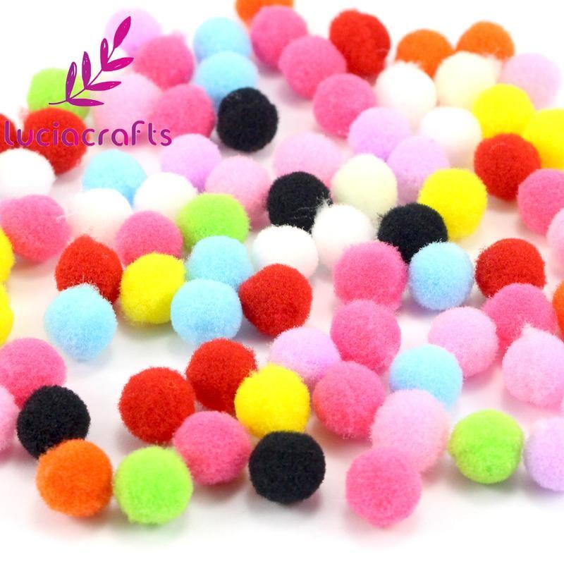 Lucia Crafts 500-1000pcs/lot 8mm Mixed Soft Round Shaped Pompom Balls Fluffy Pom Pom For Kids DIY Garment Handcraft 22010038
