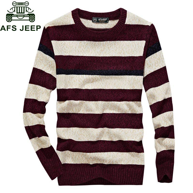 Großhandel Afs 2018 Mode Gestreifter Pullover Männer Herbst Winter Herren Pullover Warme Strickwaren Kontrast Farbe Oansatz Herren Pullover Von