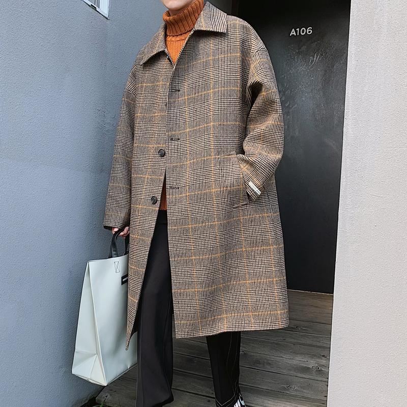 Mens Wool Trench Coat Winter Warm Padded Lapel Parka Detachable Collar Outwear