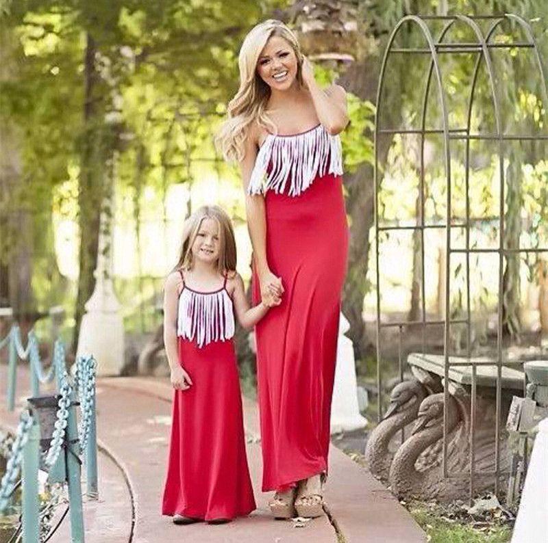 Mamá y yo Familia Matching Ropa Madre hija Vestidos Tassel Ropa Ropa Mamá e hija Vestido Niños Padres Niños Trajes