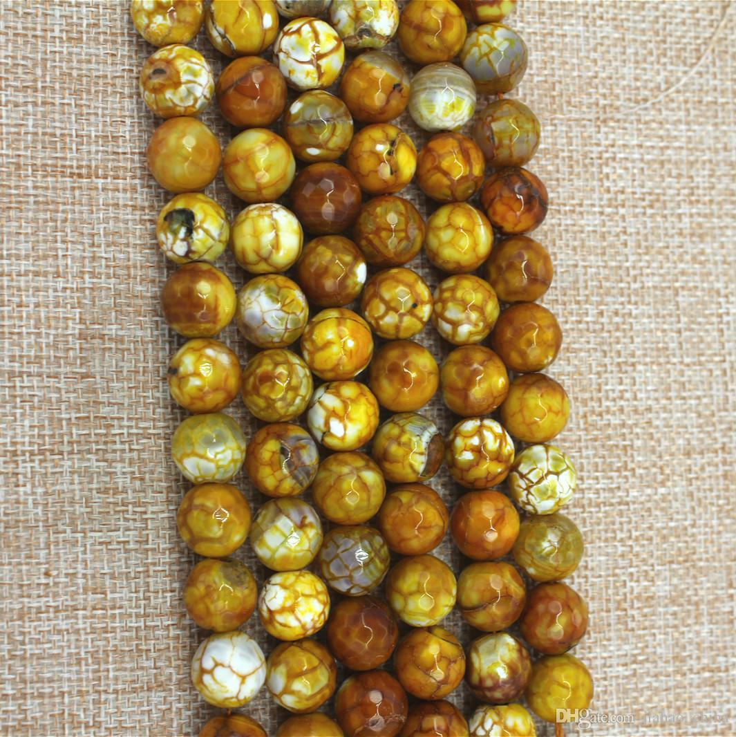 6-16mm naturale giallo nuovo fuoco agata taglio rotondo perline sparse gioielli fai da te accessori prodotti semilavorati stile europeo e americano