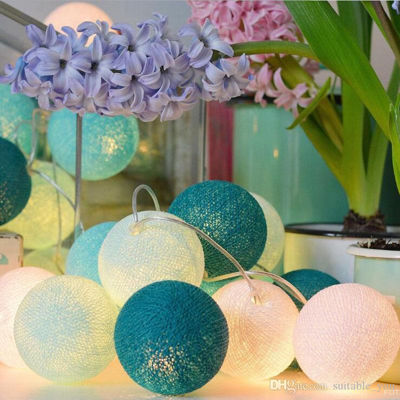 MOQ:5PCS Christmas Tree Toppers Decorate Thailand Cotton Ball Lamp String LED Balloons Light Fruit Color For Party Wedding Dec