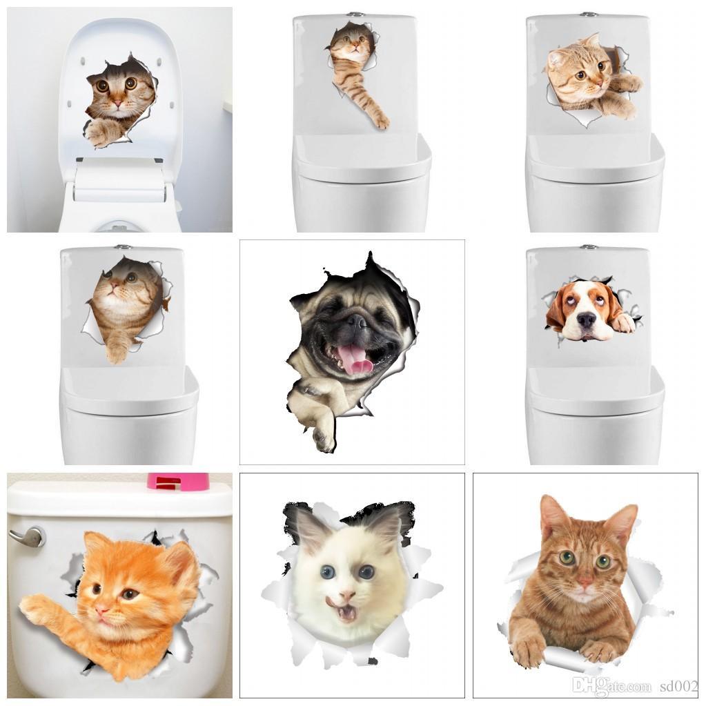 크리 에이 티브 만화 화장실 스티커 스테레오 3D 동물 고양이 개 벽 스티커 귀여운 자기 접착제 붙여 넣기 뜨거운 판매 1 5cz B
