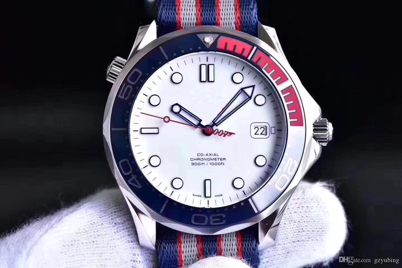 Melhor Comandante Qualidade 007 41 milímetros Assista Canvas Movment automática inoxidável Strap Esporte Men Mens Watch Relógios