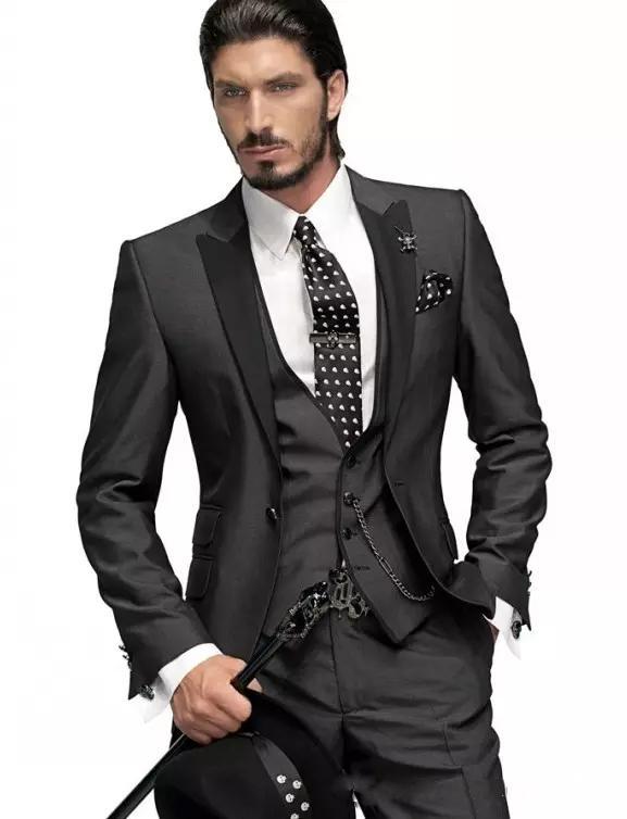Slim Fit Elegant One Button Groom Peaked Lapel Tuxedos Online Black Three Piece Wedding Groomsman Suit (Jacket+Pant+Vest) For Sale