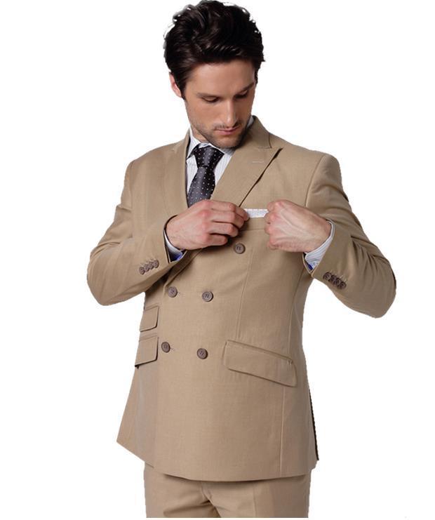 Ultimi disegni del cappotto del cappotto 2018 Khaki Brown doppio petto abiti da sposa per uomo Blazer Slim Fit personalizzato 2 pezzi Tuxedo Masculino