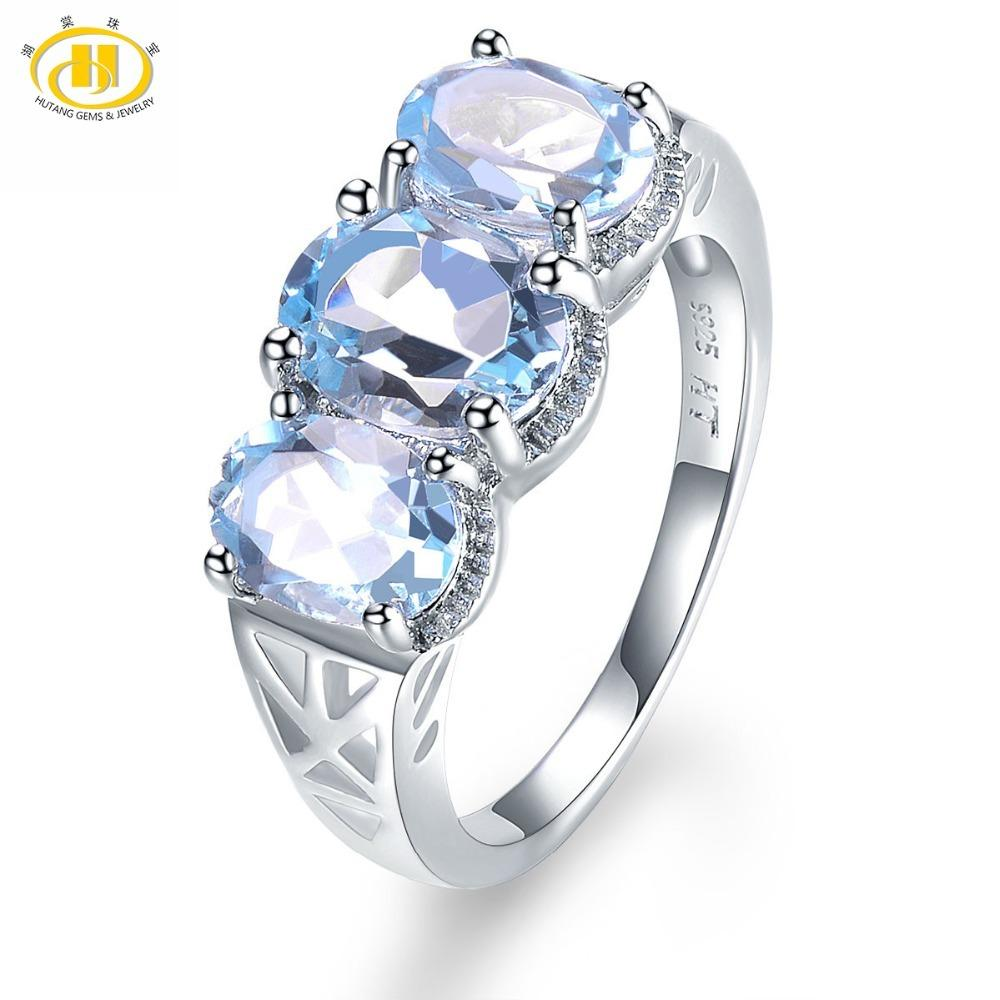 Hutang 3.52ct Natural Gemstone Sky Blue Topaz Solid 925 Sterling Silver Engagement Ring Fine Jewelry presents Gift NEW Arrival S18101002