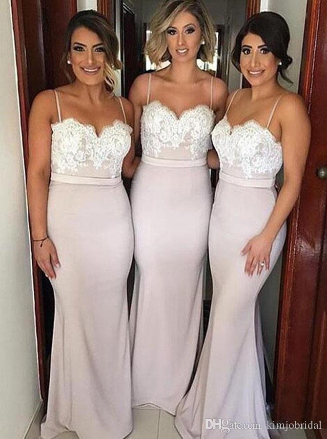 Spaghetti Strap Mermaid Druhna Dresses Długie 2019 Koronka Aplikacja Seksowna ślubna sukienki Vestido de Noiva