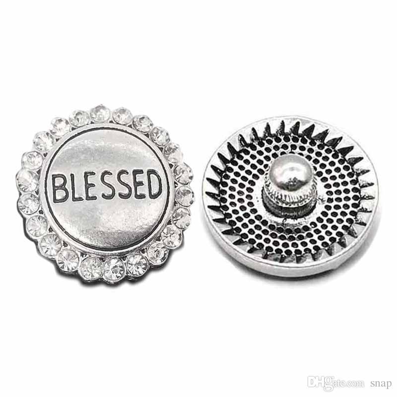 Alta qualità W018 benedetto 18mm 20mm pulsante in metallo con strass per bottone a scatto Bracciale Collana gioielli per donne Gioielli in argento