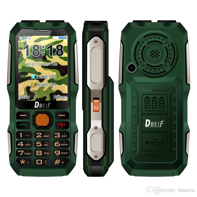 DBEIF D2016 Magic Voice Button Key Dual Flashlight FM Outdoor Shockproof MP3/MP4 Powerbank Antenna Analog TV Rugged Mobile Phone