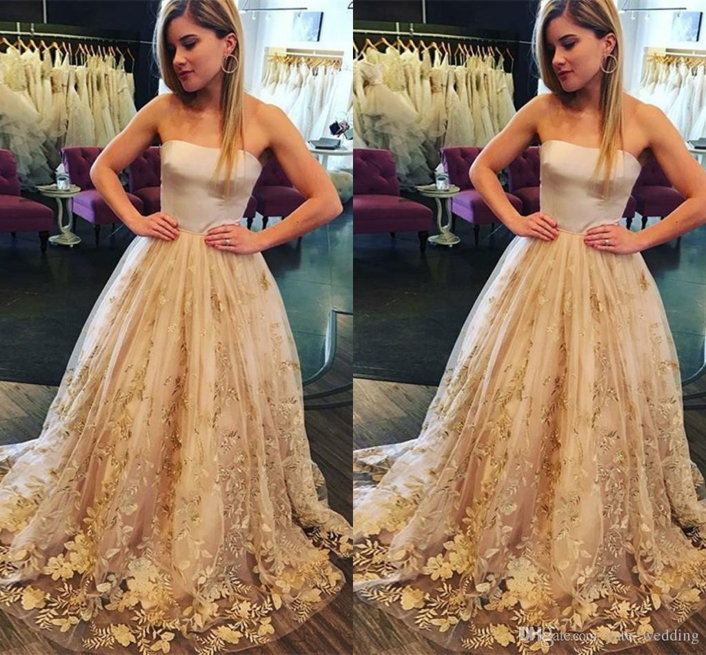 Senza spalline Champagne oro Prom Dresses Appliques in raso Tulle Lunghezza del pavimento Abiti da cerimonia Abiti da cerimonia formale Cerniera