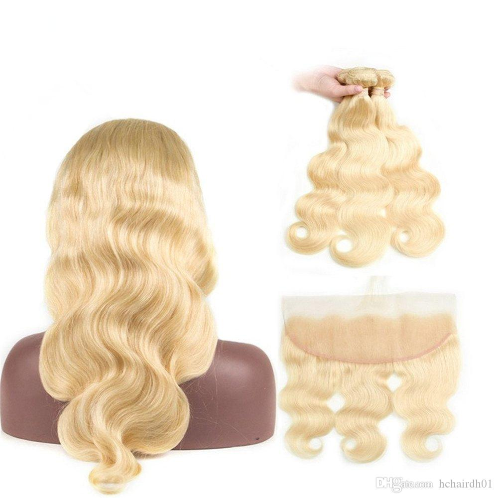 Indian Body Wave Hair Bundles With Lace Frontal Closure 613 Blonde Human Hair Frontal with Baby Hair 3 Bundles With Closure Remy Extension