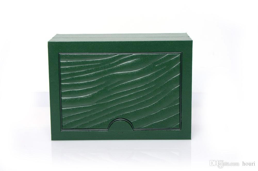 الشحن مجانا الأعلى العلامة التجارية ووتش العلامة التجارية الصندوق الأخضر أوراق هدية الساعات صناديق بطاقة جلدية للRolexs ووتش صندوق صناديق خشبية ذات جودة عالية