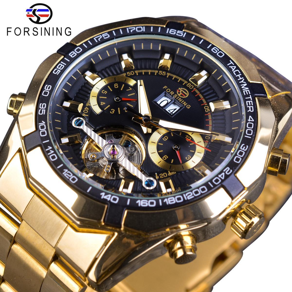 Forsining Relógio Mecânico dos homens Top Marca de Luxo Pulseira De Ouro Relógio de Negócios Relógio de Exibição Mostrador Preto Tourbillion Design S917