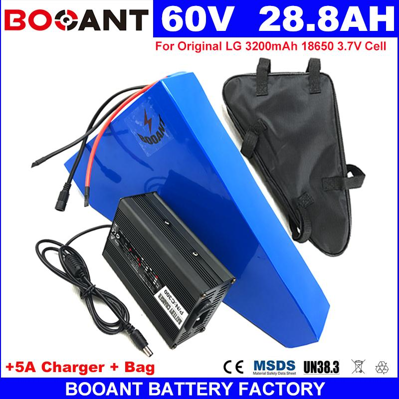 BOOANT Dreieck E-Bike-Lithium-Batterie-Pack 60V 28AH Elektro-Fahrrad-Batterie für Bafang 1500W Motor + 5A Ladegerät