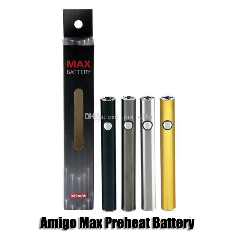 Оригинальный Amigo Max Предварительно нагревая батарея 380mah Переменная напряжение VV нижний зарядки 510 аккумулятор для свободы V9 толстый масляный картридж бак аутентичные