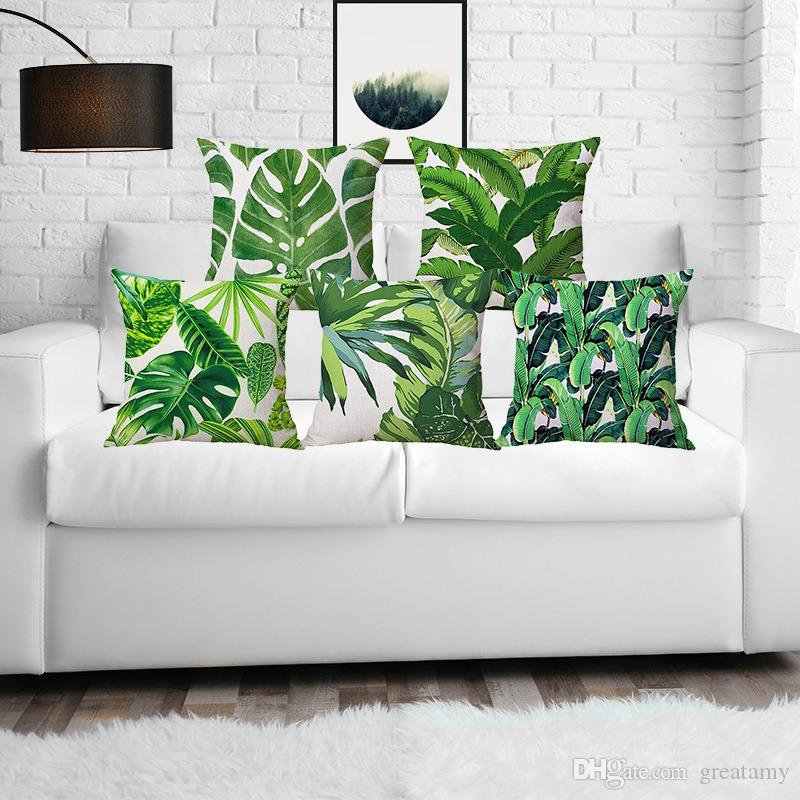 Summer green plant printed decor home throw pillows case pillow covers linen for sofa green leaves