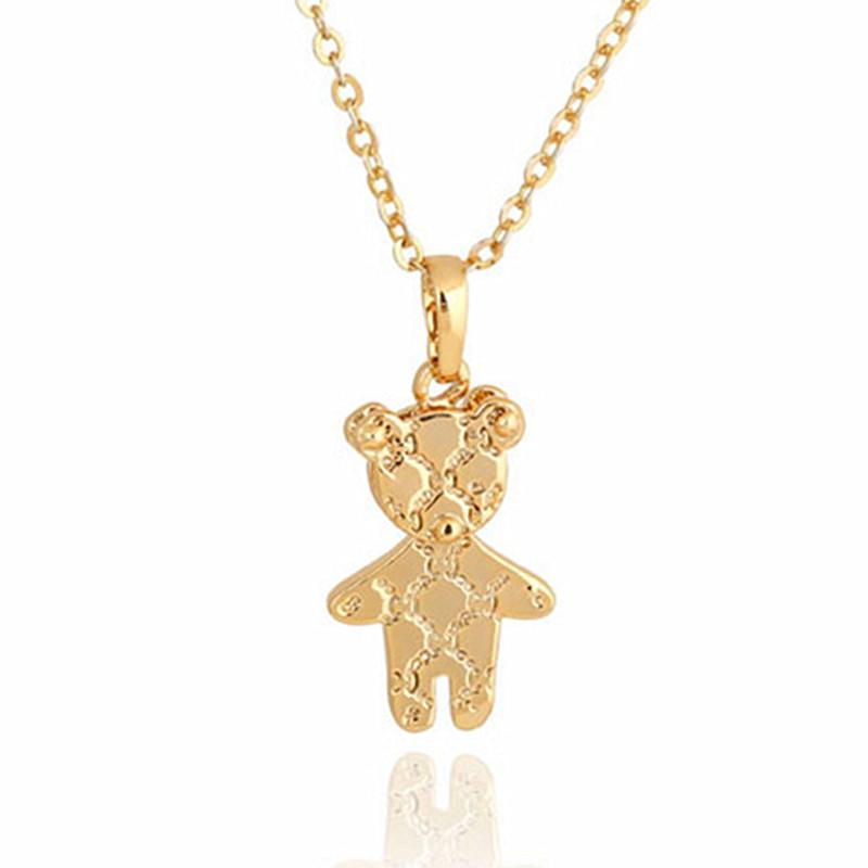 Fashion Cute Gold Mini Teddy Bear Pendant Necklace Women Men Mother Child Girl Lovely Teddy Bear Jewelry Collier Femme