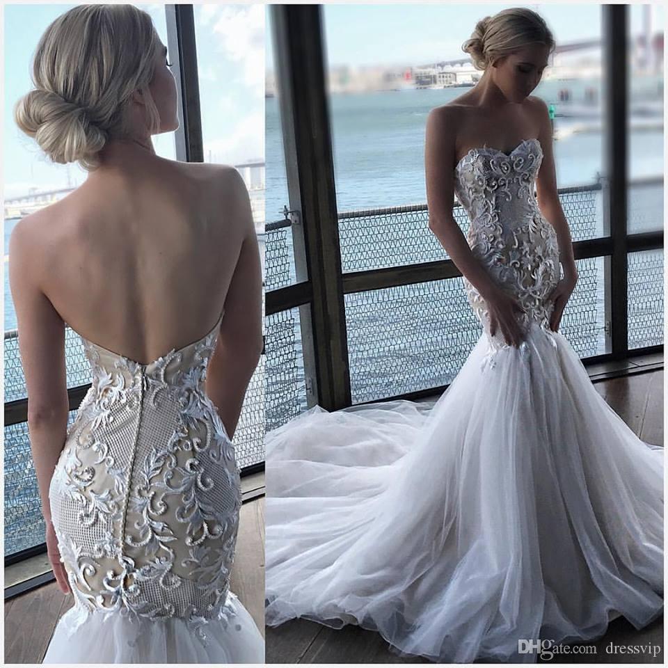 2019 sirena vestidos de novia con Slim Fit cariño apliques de encaje perlas Sweep Train Sexy vestido de boda de playa más vestidos de novia