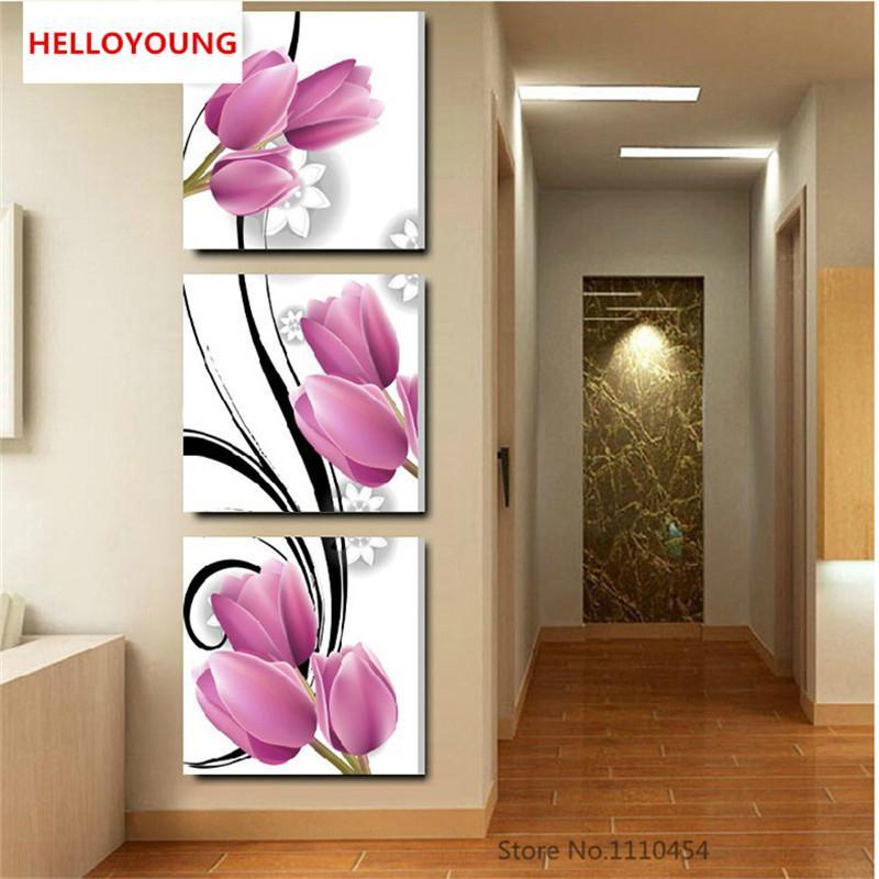 DIY 5D Полный Алмазные вышивки Цветок триптих вертикальная версия Круглый Алмазная Картина Вышивка крестом Наборы Алмазная Мозаика