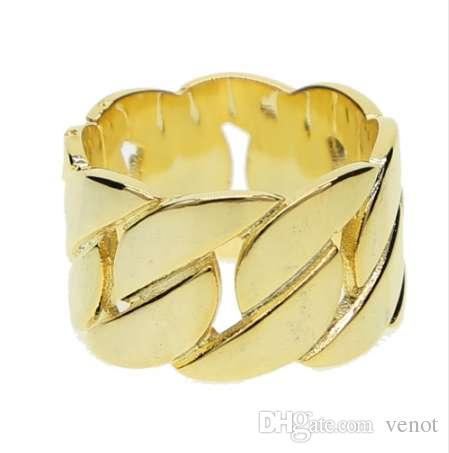 Nueva marca de oro clásico de los hombres estilo punk cadena de enlace masónico anillo Hip Hop Iced Out Bling anillos de joyería de moda al por mayor de la nave del envío