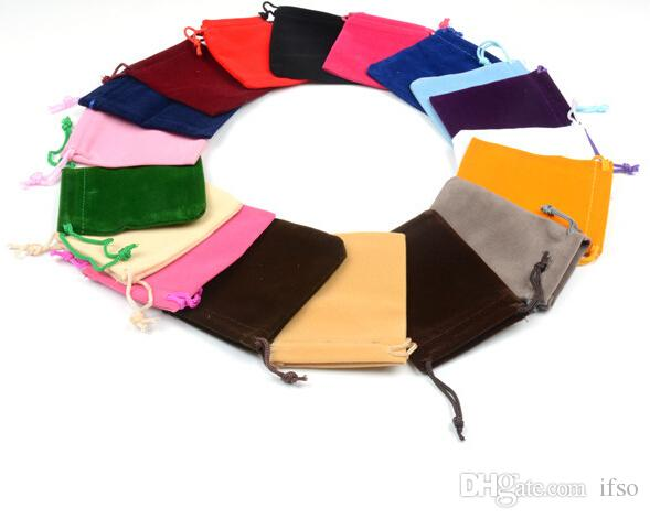 الجملة-خاتم مربع مجوهرات مربع عرض شحن مجاني 100 قطع مزيج اللون 7x9 سنتيمتر حقيبة المخملية / حقيبة مجوهرات / الحقيبة المخملية، الحقيبة حقيبة / هدية حقيبة مجانية