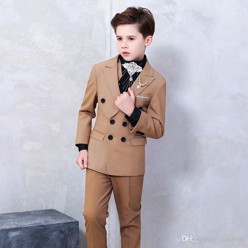 Boy yakışıklı suit çocuk kruvaze takım elbise üç parçalı takım (ceket + pantolon + yelek) erkek parti mezuniyet töreni resmi elbise