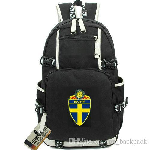 Schweden Nationalmannschaft Rucksack Canvas Stoff Tagesrucksack Fußball Schultasche Fußball Rucksack Qualitätsrucksack Sport Schultasche Outdoor Tagesrucksack
