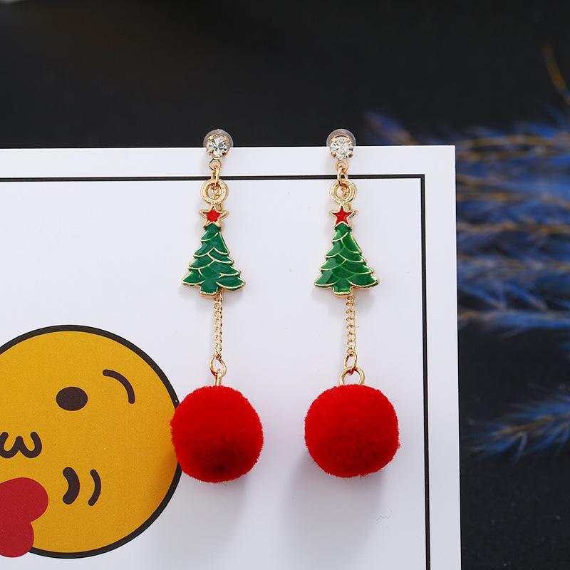 Gli orecchini di personalità di modo caldo di vendita monili di Natale Albero di Natale all'ingrosso dei capelli della sfera della nappa orecchini asimmetrici Natale Exclusive
