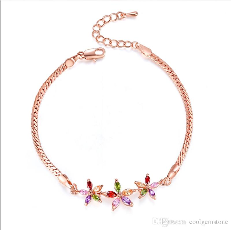 Mais recente moda estilo rose banhado a ouro Pulseira de Presente de Casamento gemstone Pulseira Bangle frete grátis