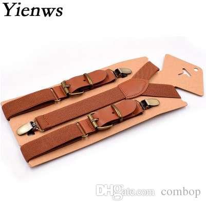 Yienws أطفال بنين الحمالات خمر براون 3 كليب زر هدفين لسروال الفتيات أنيق جلد suspensorio الأسود bretele YiA019