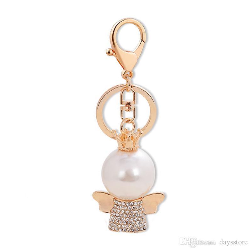 Simüle İnci Melek Bebek Kolye Anahtarlıklar Beyaz CZ Kristal Altın Renk Kadınlar Için Metal Charm Anahtar Yüzükler Zincir Tutucu Biblo