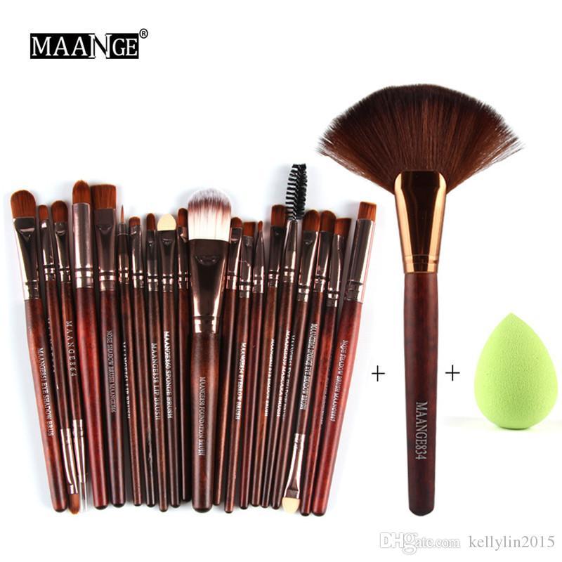 Makeup Brushes Set Fan Shaped Brush + Sponge Puff 22 pcs Set Foundation Powder Eyeshadow Lip Eyes Make Up Brushes Beauty Tools