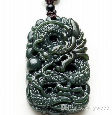 естественная ХЭТЯНЬ нефрит резной дракон кулон Китай QINGYU зеленое ожерелье подвески