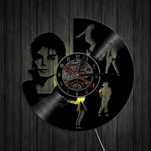 1 Stuk Michael Jackson Dance Silhouet Muziek CD Vinyl LP Record Wandklok Retro Decoratie Tijd Klok 3D Shadow Art Muur Decor