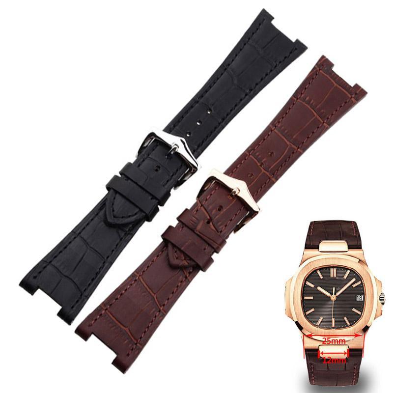 HUXIE 25 * 12mm Correa de reloj de cuero genuino de alta calidad negro marrón especial para nautilus 5711   5712 Reloj de pulsera para hombre