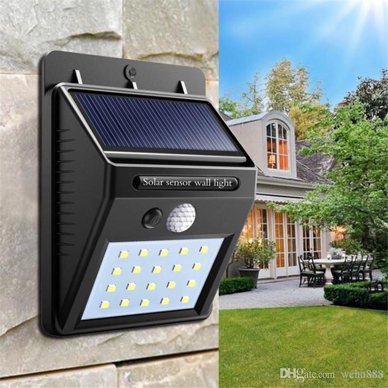 Lâmpada de parede ao ar livre à prova d 'água LEVOU luz da noite solar PIR sensor de movimento interruptor do carro luz solar varanda da estrada cerca jardim luz