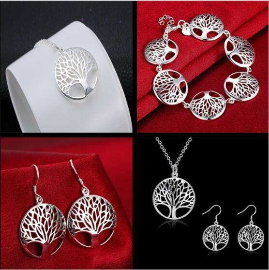 Argent 925 L'arbre de vie Bracelet Collier Boucles d'oreilles Charismatique L'arbre de vie Pendentif Ensemble de bijoux Fit Fille et femme